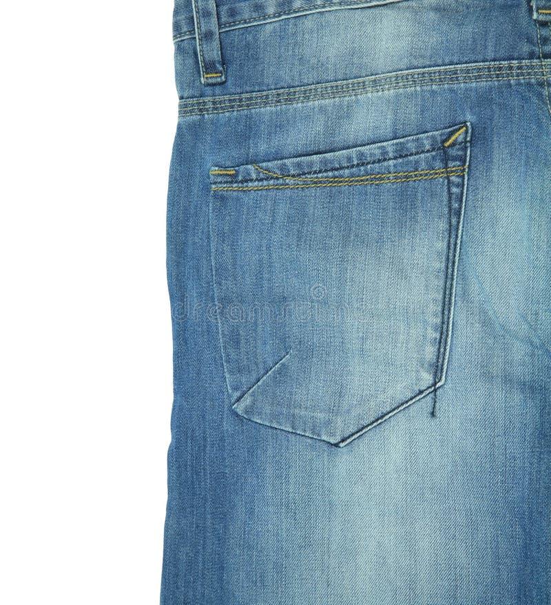 Bolso traseiro da calças de ganga isolada no branco imagem de stock royalty free