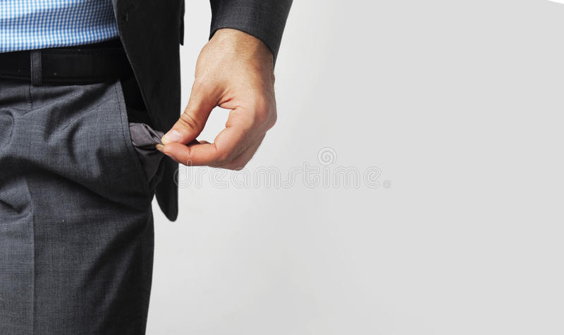 Bolso vazio como um símbolo da falta de dinheiro fotos de stock