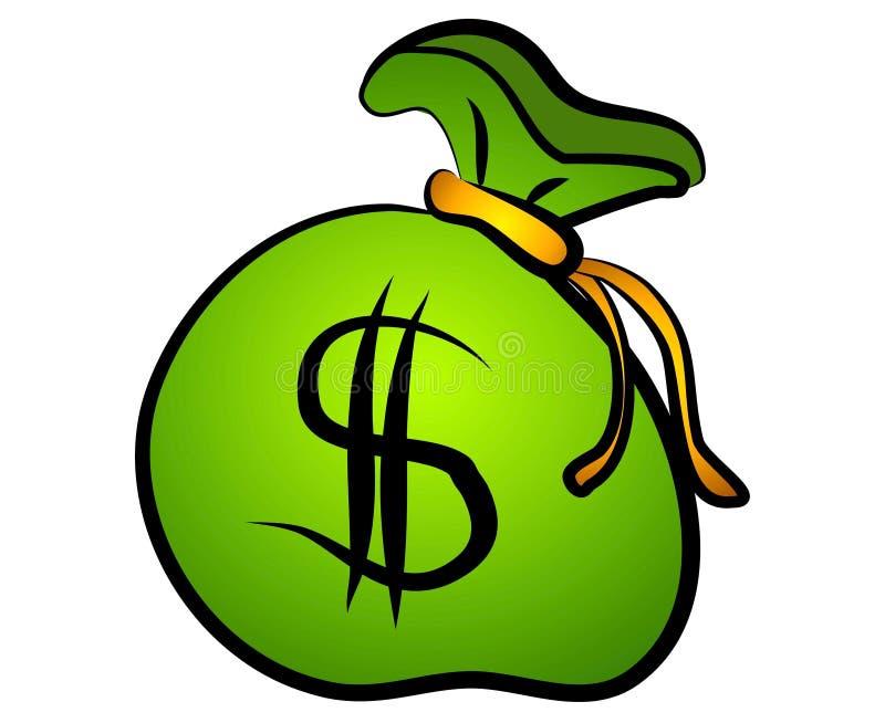 Bolso verde de la muestra de dólar del dinero stock de ilustración