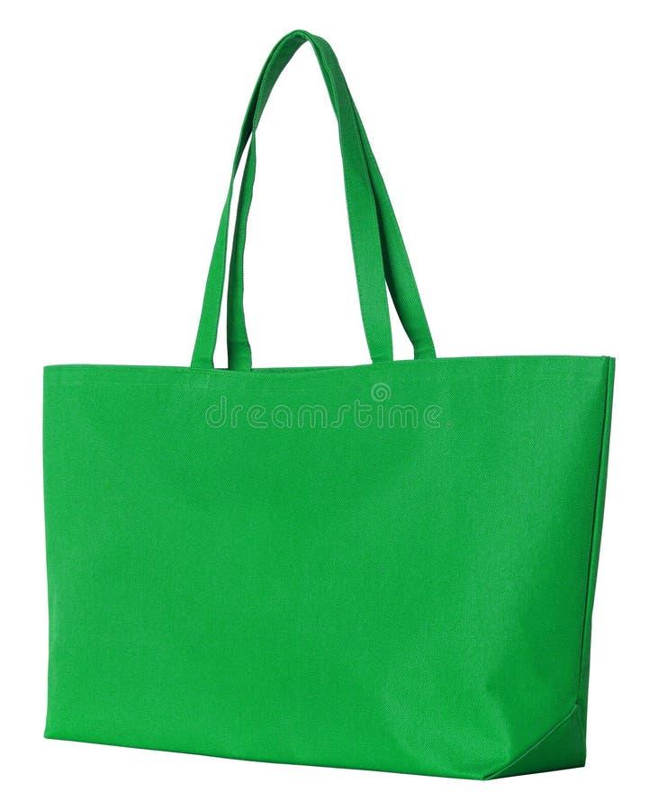 Bolso verde de la tela aislado en blanco imagen de archivo libre de regalías