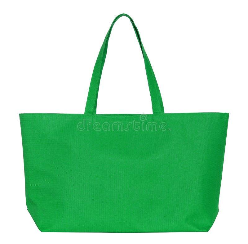 Bolso verde de la tela aislado en blanco fotos de archivo libres de regalías