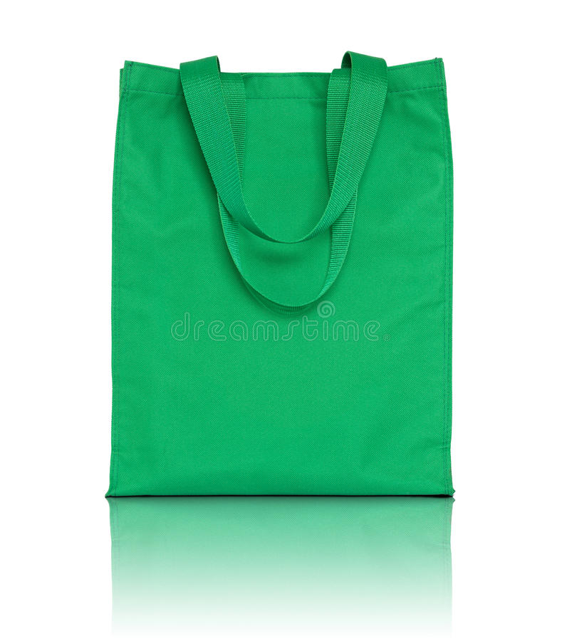 Bolso verde de la tela de las compras imagen de archivo libre de regalías