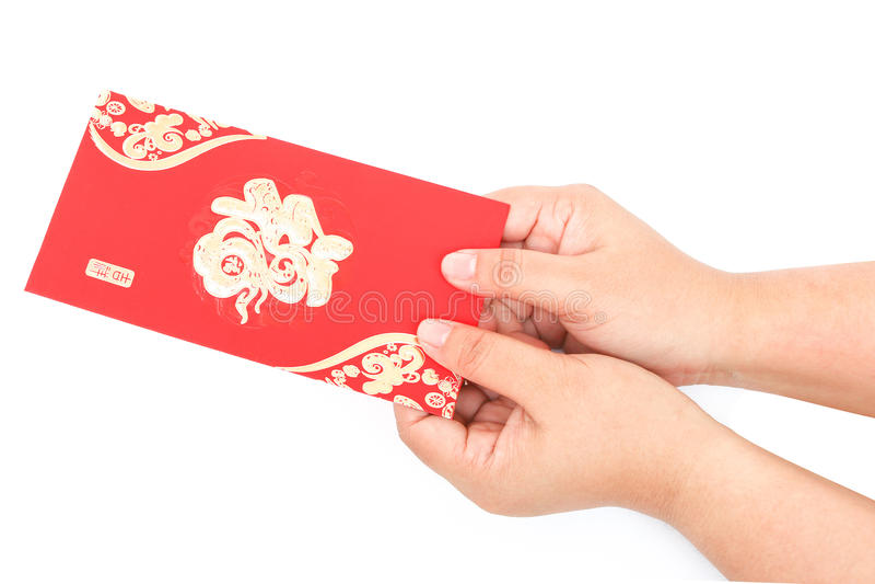 Bolso vermelho e dinheiro afortunado no ano novo chinês foto de stock royalty free