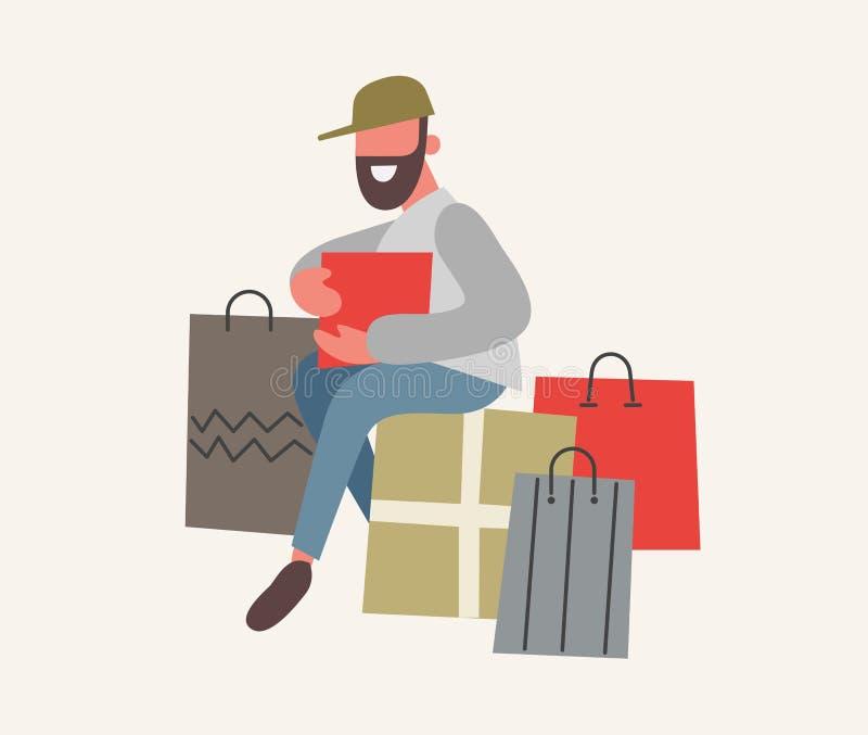 Bolsos barbudos del hombre y de compras con las compras E Dise?o plano, ejemplo del vector libre illustration