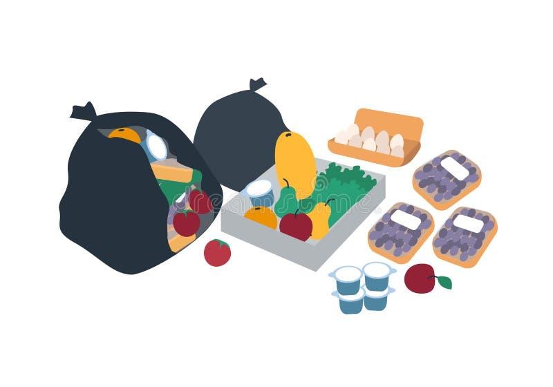 Bolsos, cajas y paquetes plásticos de basura por completo de comida desechada para los freegans - frutas, verduras, huevos, produ stock de ilustración