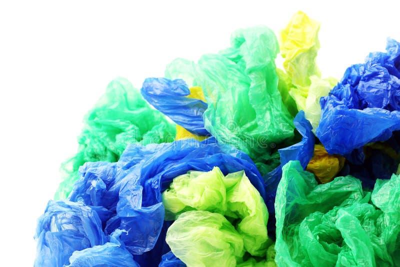 Bolsos de basura plásticos coloridos imagenes de archivo