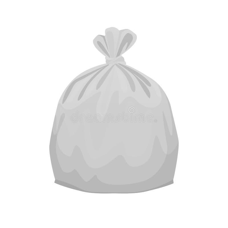 Bolsos de basura plásticos grises para la separación llena inútil aislados en el fondo de la casilla blanca, bolsos plásticos ilustración del vector