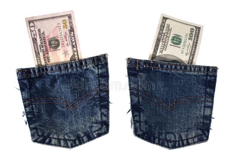 Bolsos de calças de ganga com dólares. fotos de stock royalty free