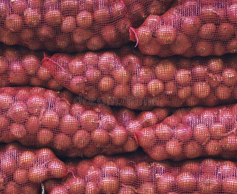 Bolsos de cebollas rojas foto de archivo libre de regalías