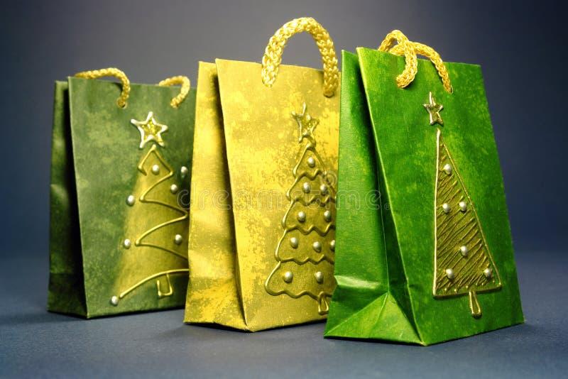 Bolsos de compras de la Navidad foto de archivo libre de regalías