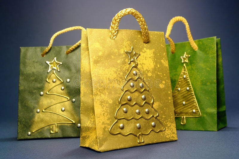 Bolsos de compras de la Navidad imagenes de archivo