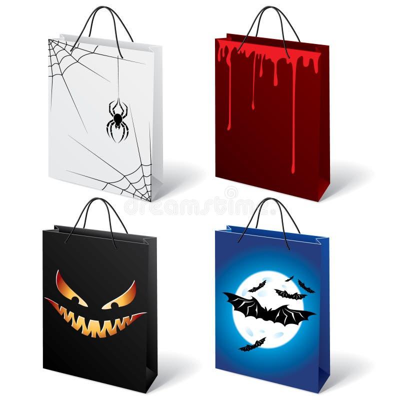 Bolsos de compras de Víspera de Todos los Santos ilustración del vector