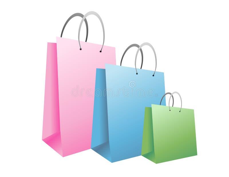 Bolsos de compras en colores pastel coloridos ilustración del vector