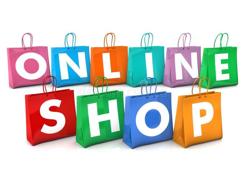 Bolsos de compras en línea ilustración del vector