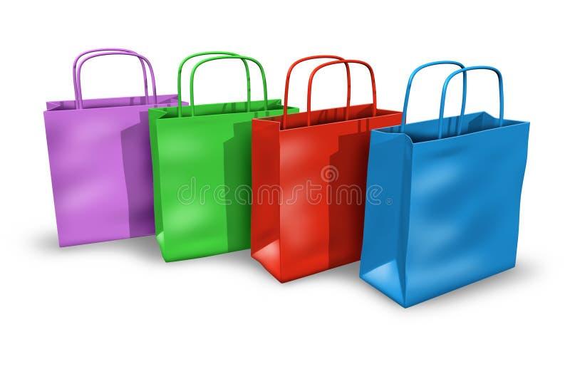 Bolsos de compras en un grupo con colores multi libre illustration