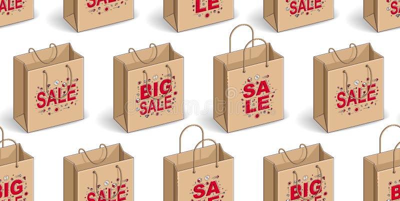 Bolsos de compras fondo incons?til, contexto para el mercado o p?gina web en l?nea de la tienda, tema estacional de la liquidaci? libre illustration