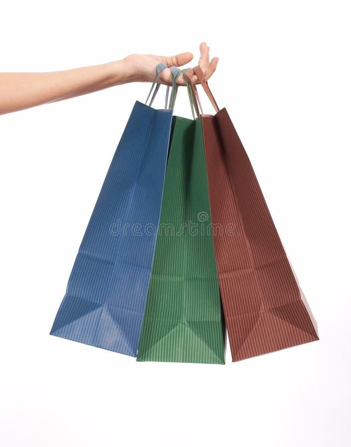 Bolsos de compras tricolores foto de archivo libre de regalías