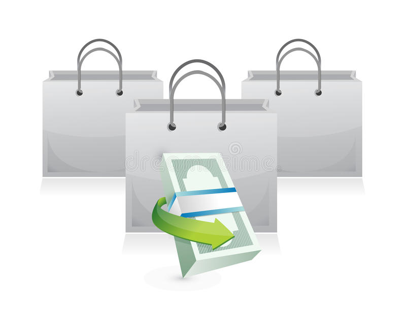 Bolsos de compras y pila del dinero stock de ilustración