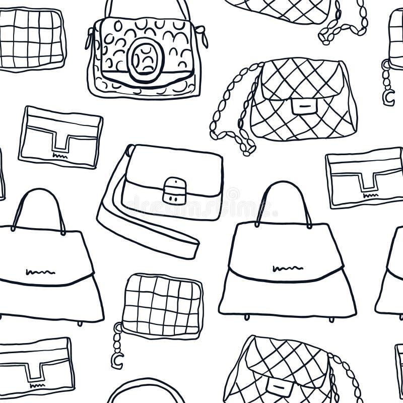 Bolsos de la moda y modelo inconsútil del embrague stock de ilustración