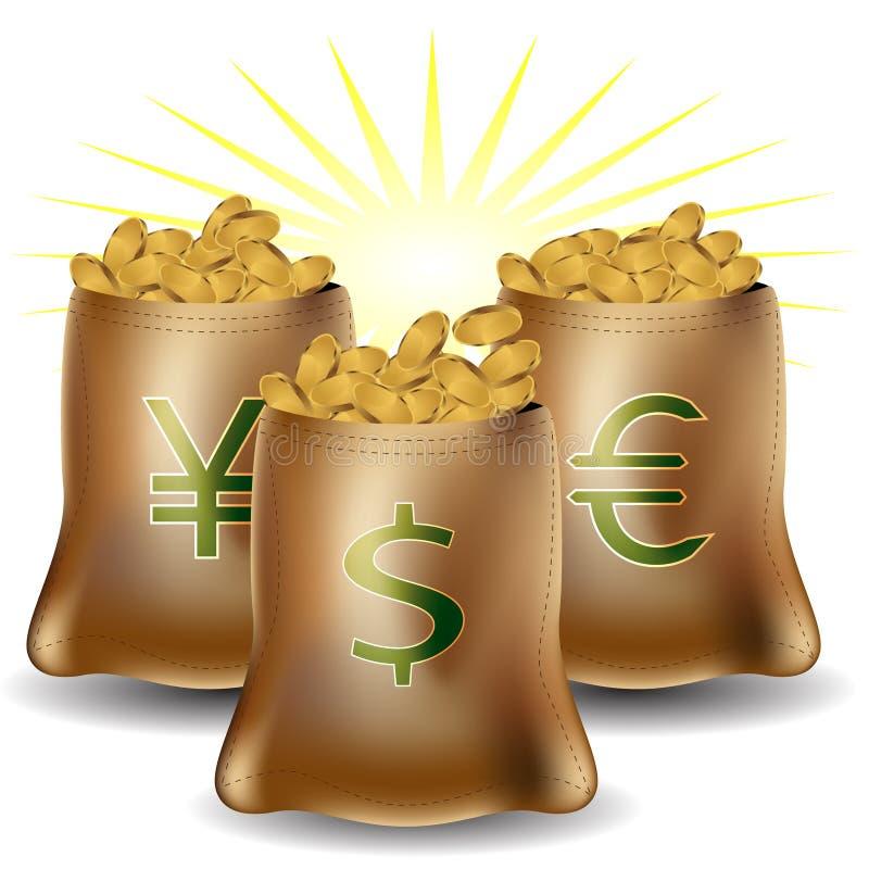Bolsos de la muestra del dinero stock de ilustración