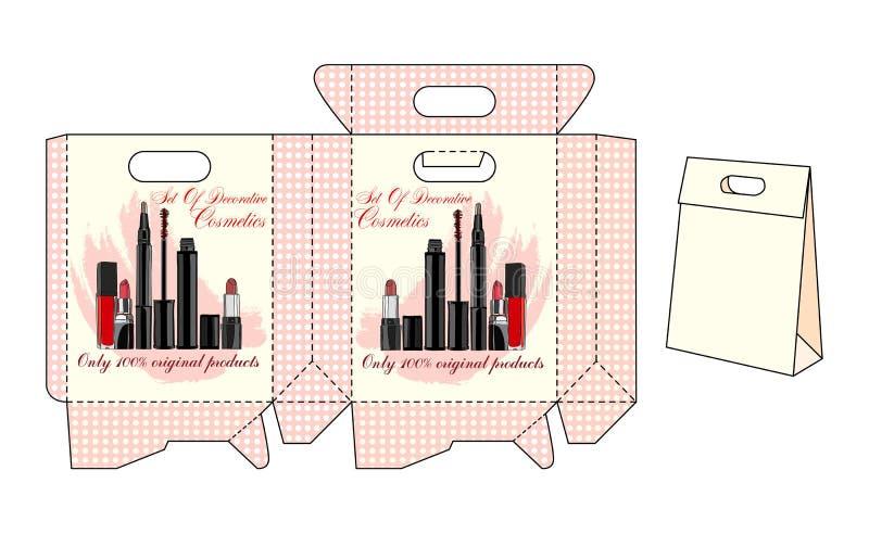 Bolsos de la plantilla para los cosméticos stock de ilustración
