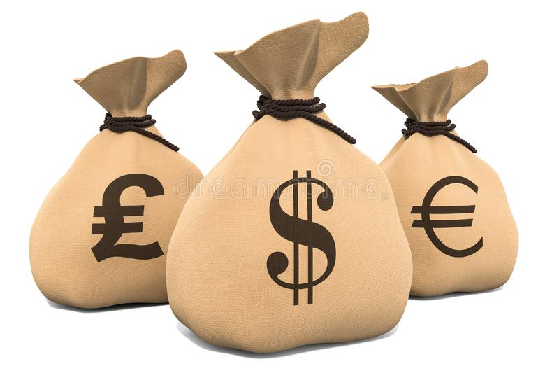 Bolsos del dinero con símbolo de la libra esterlina del dólar, del euro y representaci?n 3d ilustración del vector