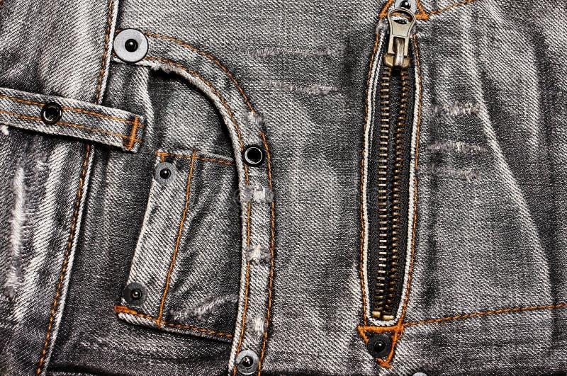 Bolsos e zipper das calças de brim fotografia de stock royalty free