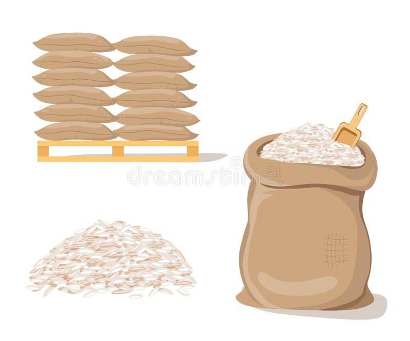 Bolsos en la plataforma Saco con la pila de arroz stock de ilustración
