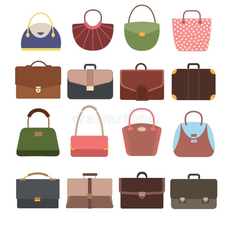 Bolsos femeninos y masculinos Forme el monedero de la señora y la colección del vector de los accesorios del bolso aislados stock de ilustración
