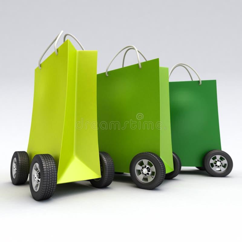 Bolsos que hacen compras verdes en las ruedas stock de ilustración