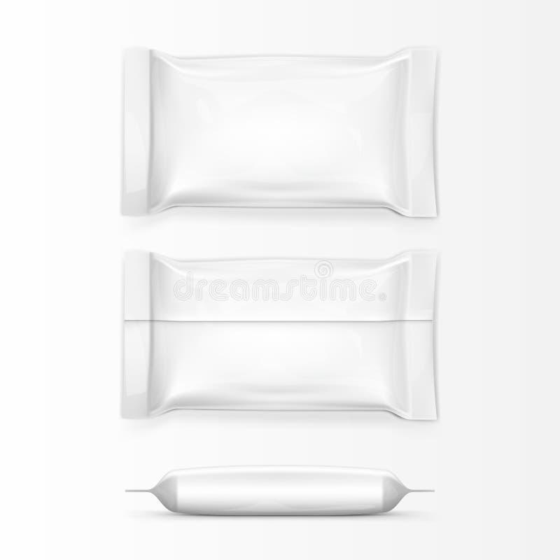 Bolsos realistas de la almohada del bocado de la comida Frente, parte posterior y vista lateral libre illustration