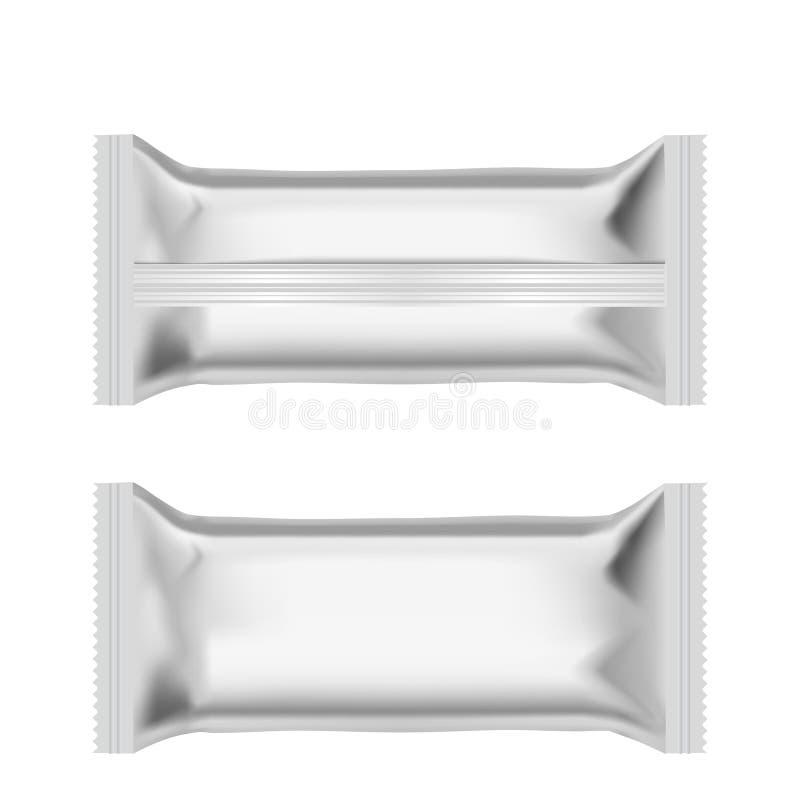 Bolsos realistas de la almohada del bocado de la comida Visión delantera y trasera Mofa para arriba Vector stock de ilustración