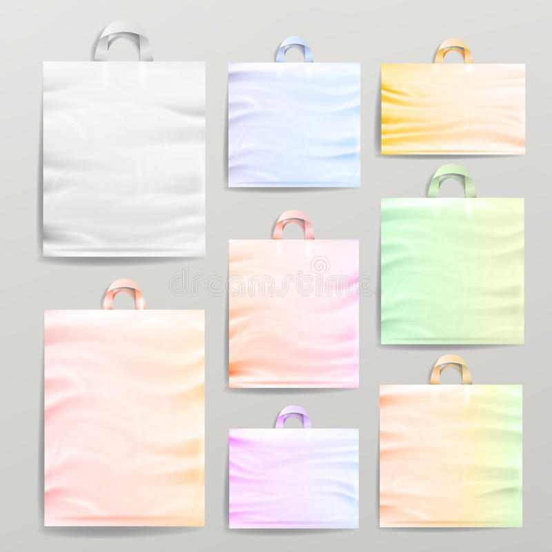 Bolsos realistas de las compras plásticas fijados con las manijas Del cierre mofa reutilizable vacía colorida para arriba para ar ilustración del vector