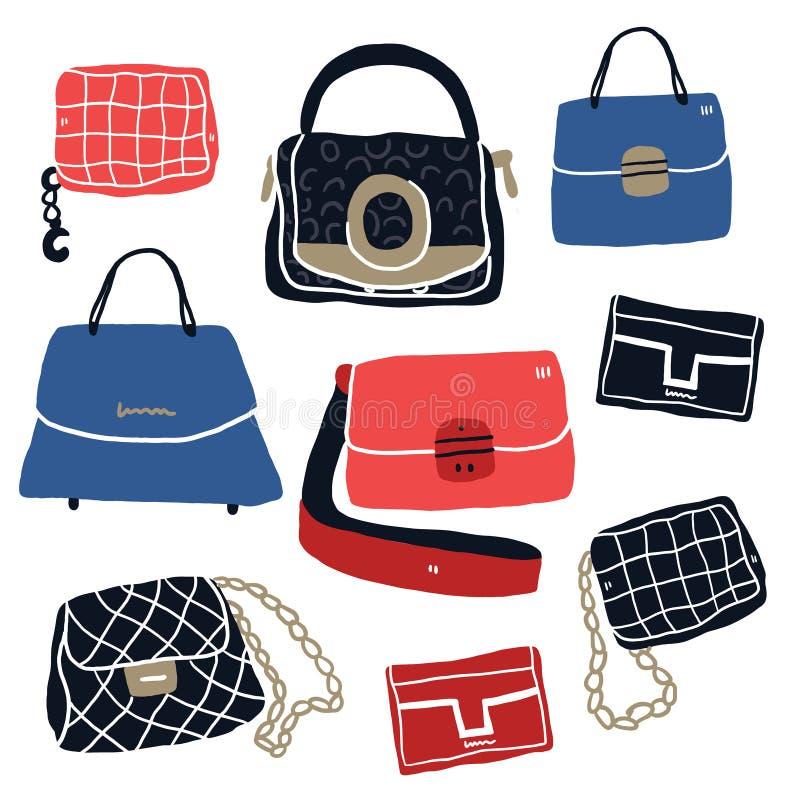 Bolsos y embrague de la moda stock de ilustración