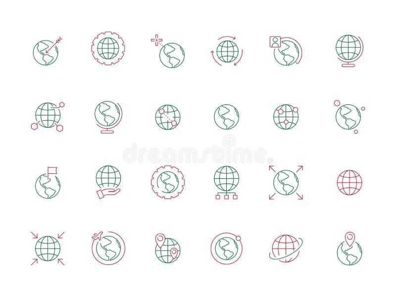 Bolsymbolen Van de aardesymbolen van de reiswereld de kaart vectorzaken gekleurde pictogrammen vector illustratie