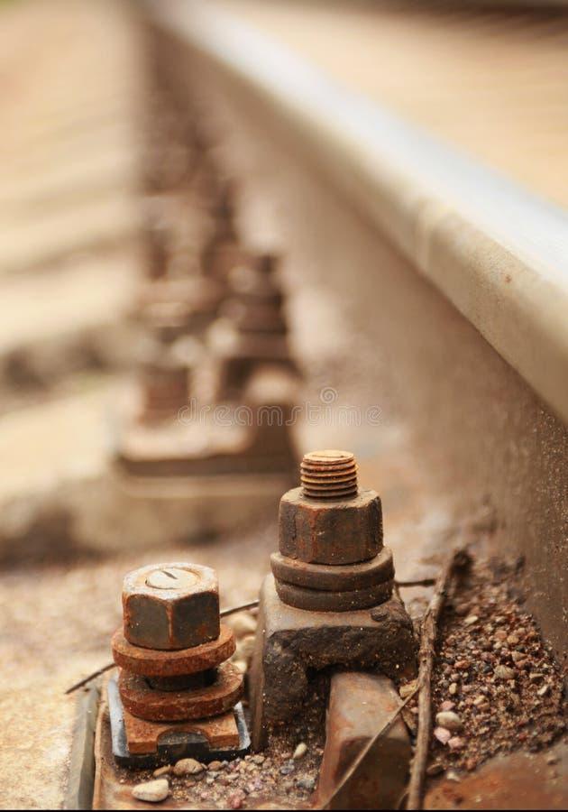 Bolt. Close-up of metal railway bolt stock images