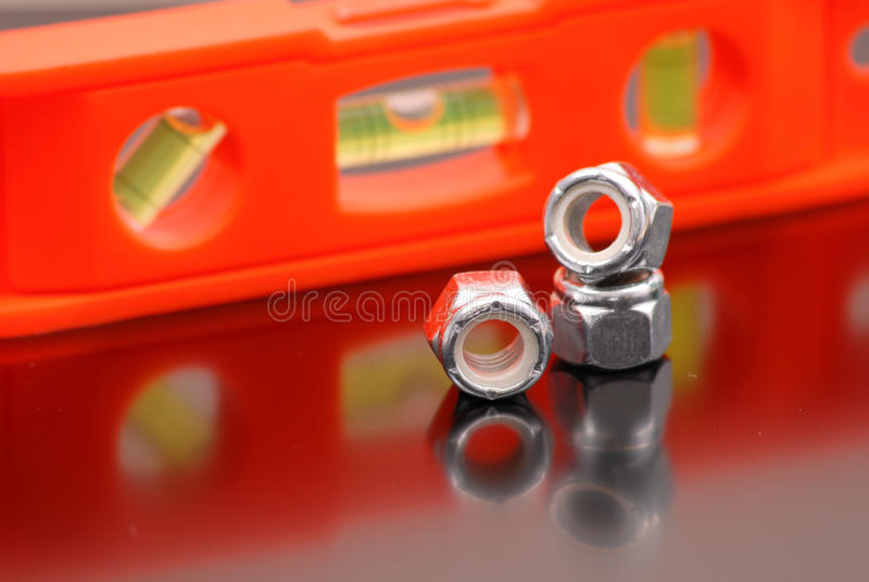 Bolt Heads. Next To Level With Shallow DOF royalty free stock images