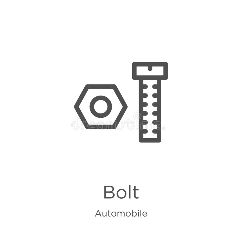 Bolt Icon Vector From Automobile Collection Thin Line Bolt Outline Icon Vector Illustration Outline Thin Line Bolt Icon For Stock Vector Illustration Of Shock Lightning 145617411