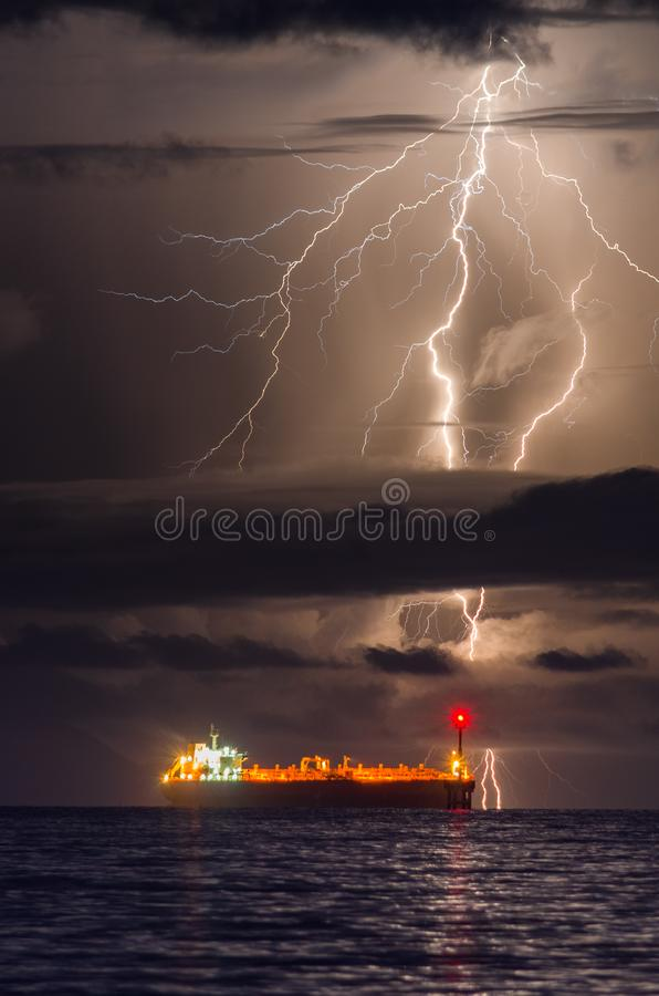 A BOLT OF LIGHTNING ERUPTION OF KRAKATOA VOLCANO royalty free stock photo