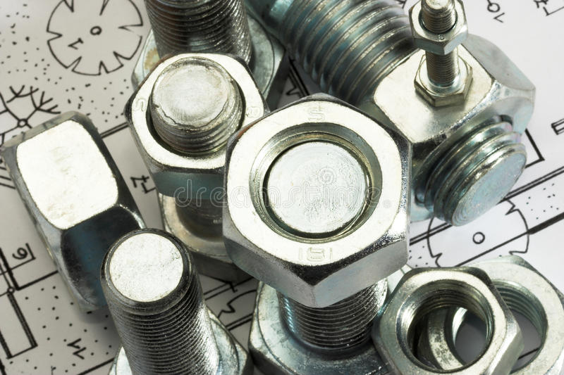 Bolt and nut. Close up stock image