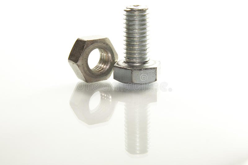 Bolt and Nut. On a white background stock photo