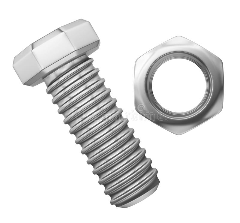 Bolt and Nut Isolated stock illustration