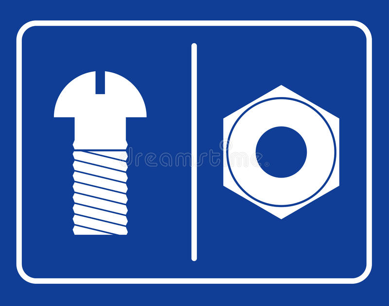 Bolt and nut restroom sign. Symbol public toilet. Sign male toil stock illustration