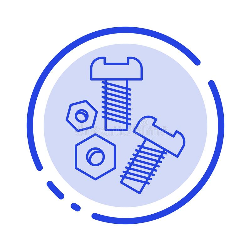 Free Bolt, Nut, Screw, Tools Blue Dotted Line Line Icon Royalty Free Stock Photo - 148968425