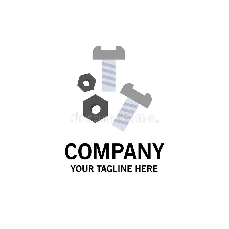 Bolt, Nut, Screw, Tools Business Logo Template. Flat Color royalty free illustration
