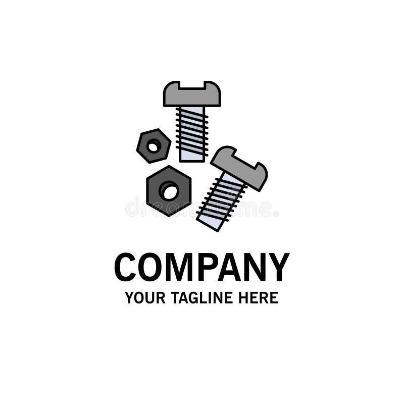 Bolt, Nut, Screw, Tools Business Logo Template. Flat Color stock illustration