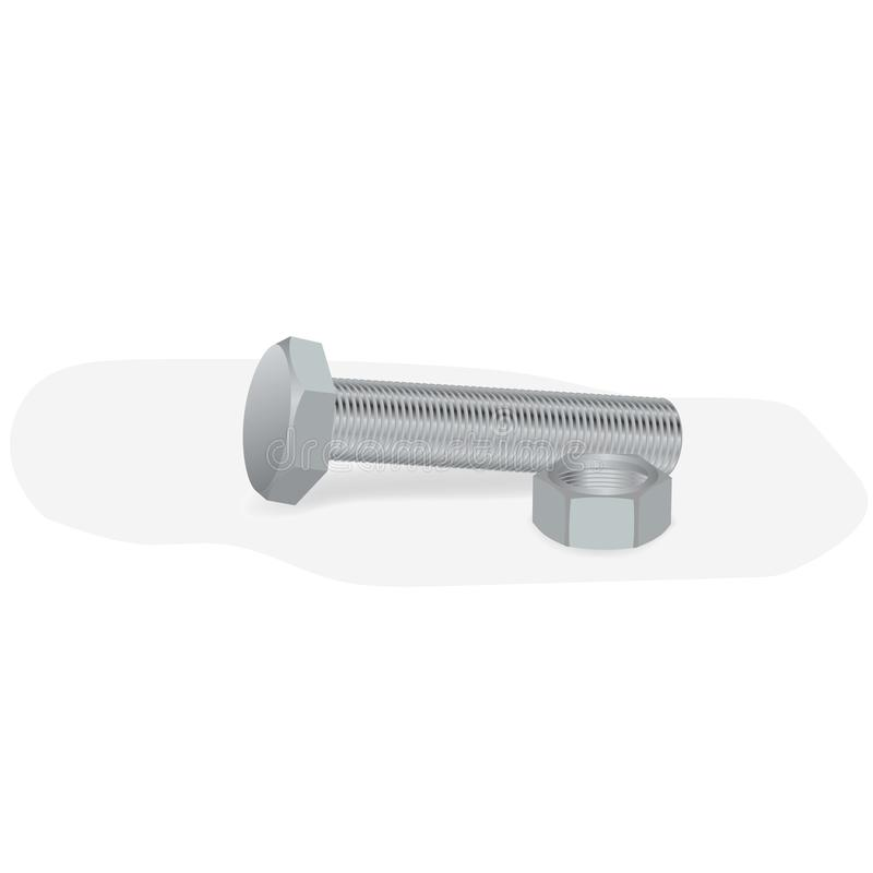 Bolt and nut. On a white background stock illustration