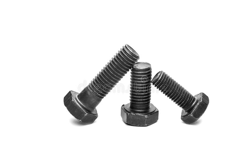 Bolt and nut on white background royalty free stock photography