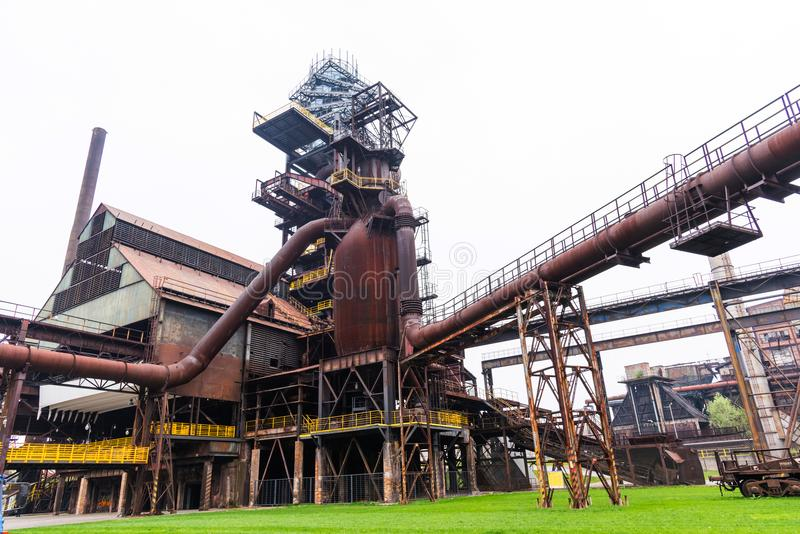 Bolt Tower and the blast furnace in Vitkovice in Ostrava, Czech Republic. Close-up royalty free stock images