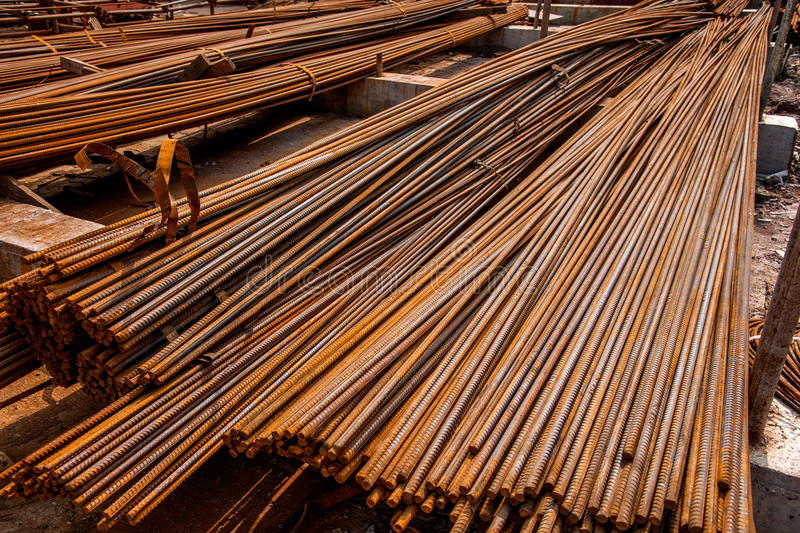 Bolted steel for building construction. Rebar is widely used in housing, bridges, roads and other civil engineering construction. Large structures, such as royalty free stock photo